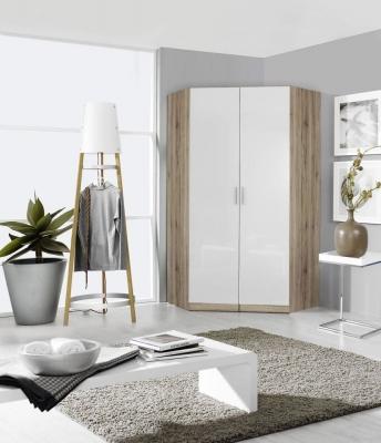 Rauch Celle 2 Door Corner Wardrobe In Sanremo Oak Light and High Gloss White - W 117cm