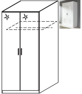Rauch Celle 2 Door Wardrobe in Alpine White and High Gloss White - W 91cm