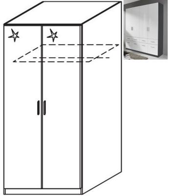 Rauch Celle 2 Door Wardrobe in Metallic Grey and High Gloss White - W 91cm
