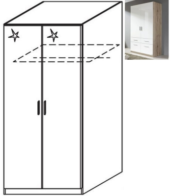 Rauch Celle 2 Door Wardrobe in Sanremo Oak Light and High Gloss White - W 91cm