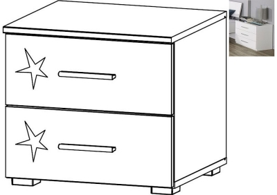 Rauch Celle 2 Drawer Bedside Cabinet in Alpine White and High Gloss White