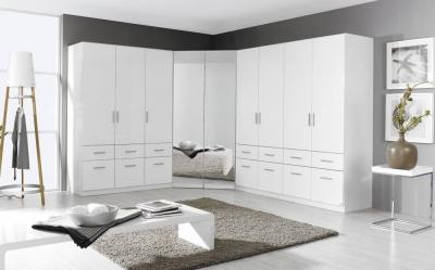 Rauch Celle 2 Mirror Door Corner Wardrobe In Alpine White and High Gloss White - W 117cm