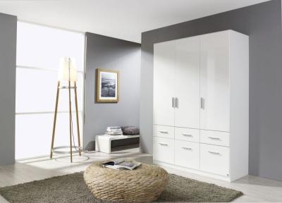 Rauch Celle 3 Door 6 Drawer Combi Wardrobe in Alpine White and High Gloss White - W 136cm