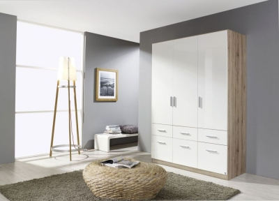Rauch Celle 3 Door 6 Drawer Combi Wardrobe in Sanremo Oak Light and High Gloss White - W 136cm