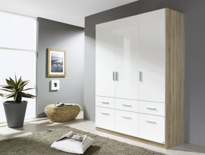 Rauch Celle 3 Door 6 Drawer Combi Wardrobe in Sonoma Oak and High Gloss White - W 136cm
