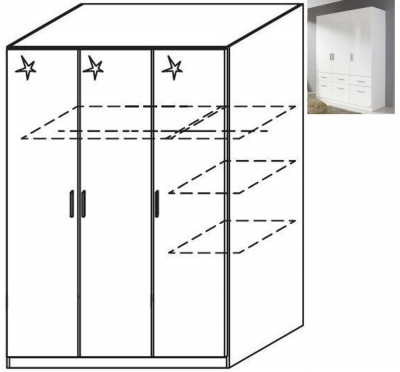 Rauch Celle 3 Door Wardrobe in Alpine White and High Gloss White - W 136cm