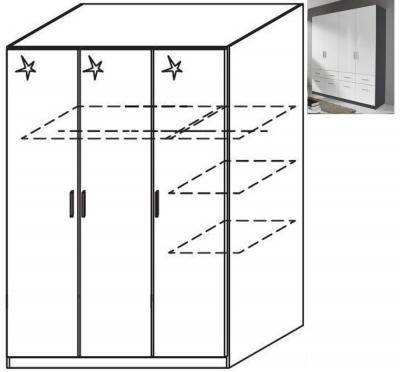 Rauch Celle 3 Door Wardrobe in Metallic Grey and High Gloss White - W 136cm