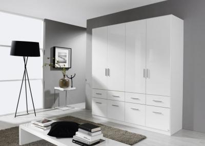 Rauch Celle 4 Door 8 Drawer Combi Wardrobe in Alpine White and High Gloss White - W 181cm
