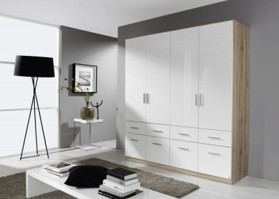 Rauch Celle 4 Door 8 Drawer Combi Wardrobe in Sanremo Oak Light and High Gloss White - W 181cm