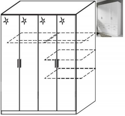 Rauch Celle 4 Door Wardrobe in Alpine White and High Gloss White - W 181cm