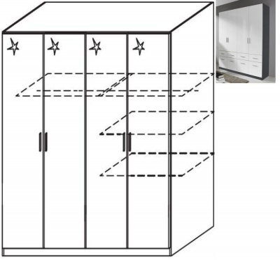 Rauch Celle 4 Door Wardrobe in Metallic Grey and High Gloss White - W 181cm