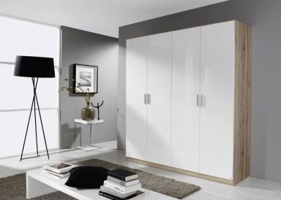 Rauch Celle 4 Door Wardrobe in Sanremo Oak Light and High Gloss White - W 181cm