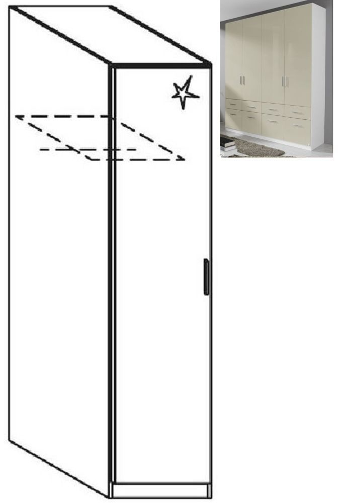 Rauch Celle 1 Left Door Wardrobe in Alpine White and High Gloss Sand Grey - W 47cm