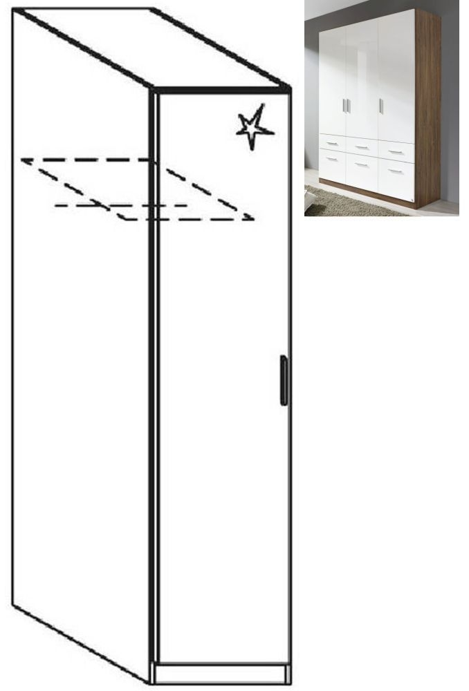 Rauch Celle 1 Left Door Wardrobe in Stirling Oak and High Gloss White - W 47cm