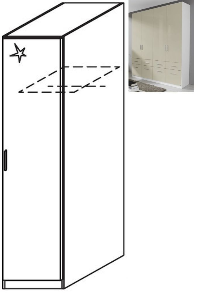 Rauch Celle 1 Right Door Wardrobe in Alpine White and High Gloss Sand Grey - W 47cm