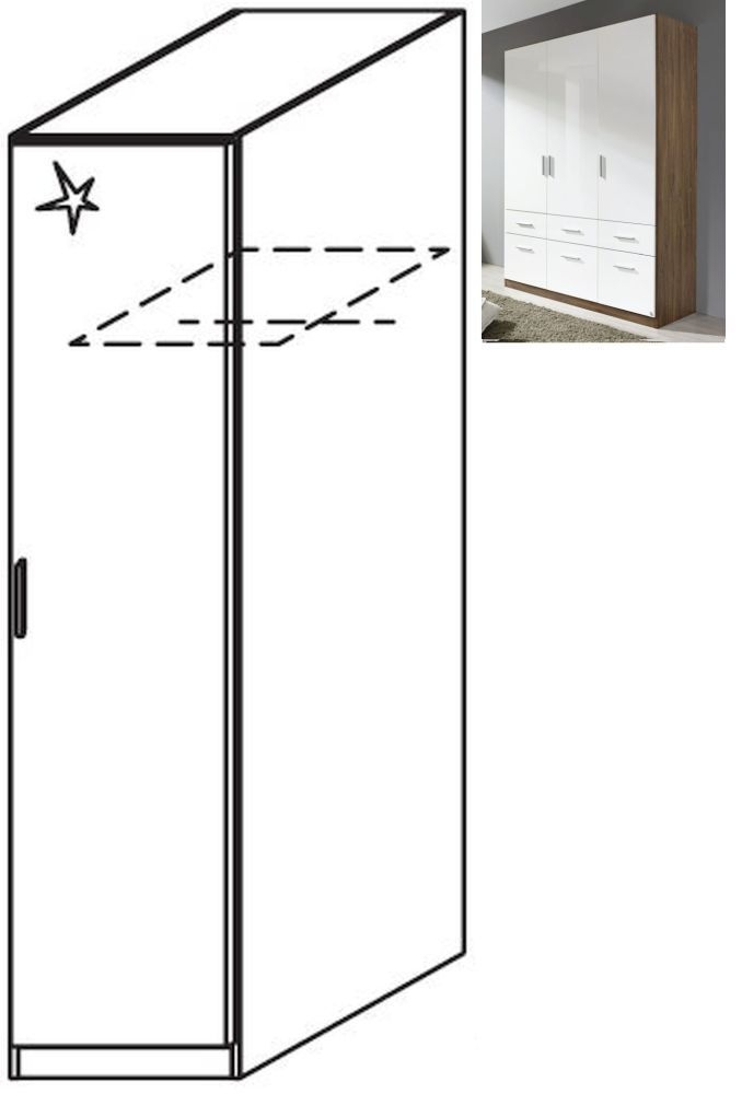Rauch Celle 1 Right Door Wardrobe in Stirling Oak and High Gloss White - W 47cm