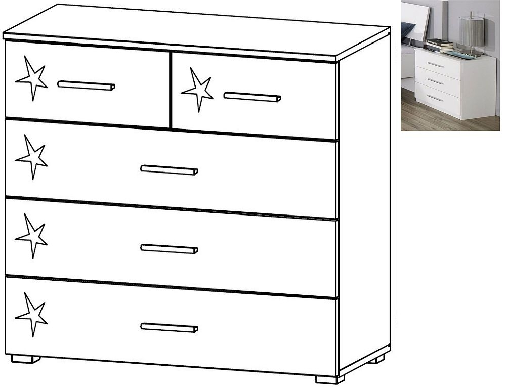 Rauch Celle 2+3 Drawer Chest in Alpine White and High Gloss White