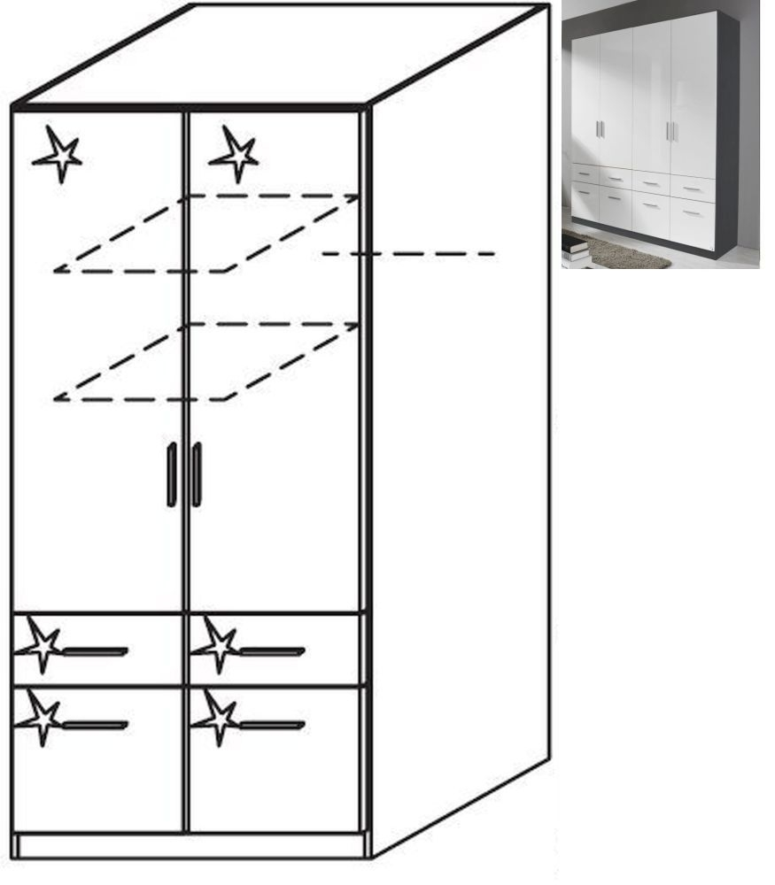 Rauch Celle 2 Door 4 Drawer Wardrobe in Metallic Grey and High Gloss White - W 91cm