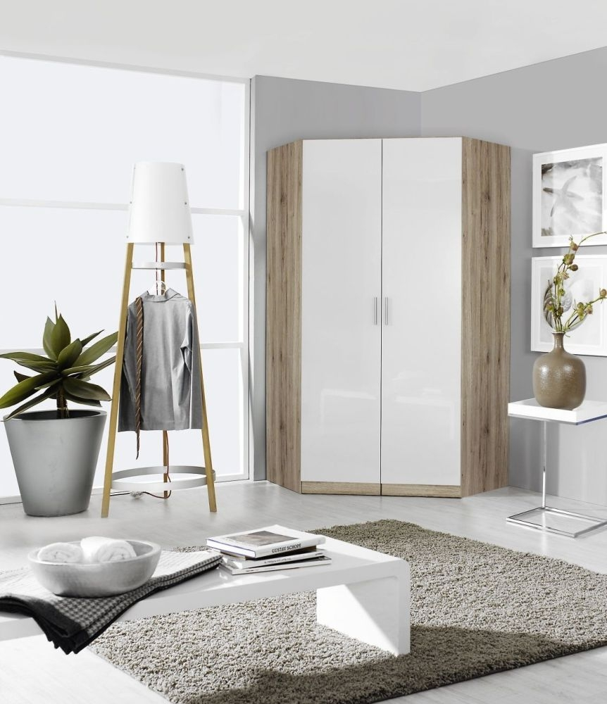 Rauch Celle 2 Door Corner Wardrobe In Sanremo Oak Light and High Gloss White - W 117cm