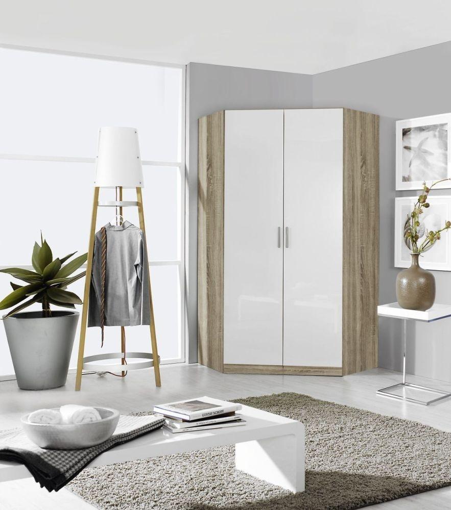 Rauch Celle 2 Door Corner Wardrobe In Sonoma Oak and High Gloss White - W 117cm