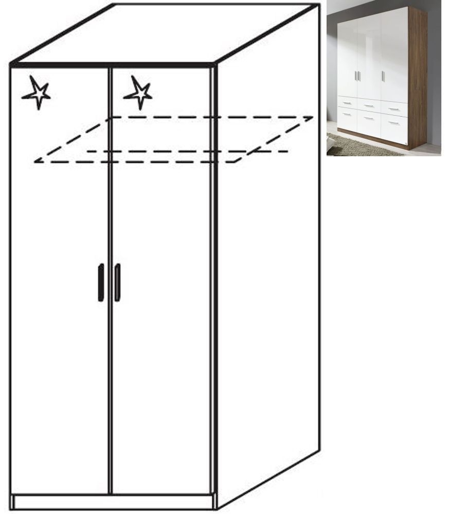 Rauch Celle 2 Door Wardrobe in Stirling Oak and High Gloss White - W 91cm