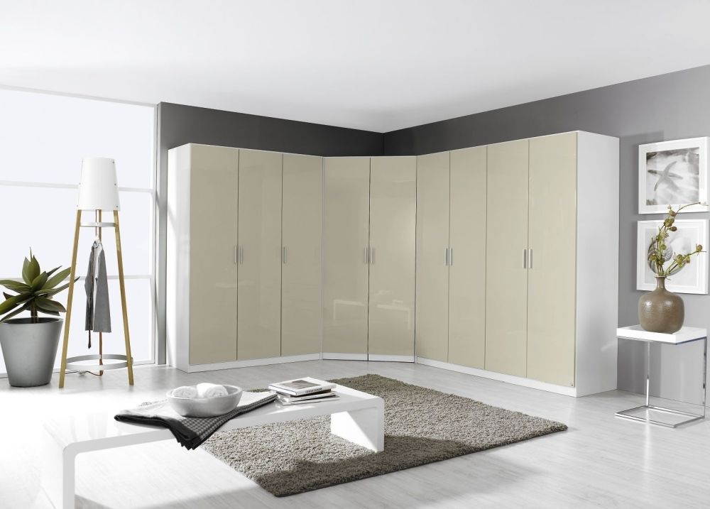 Rauch Celle 2 Mirror Door Corner Wardrobe In Alpine White and High Gloss Sand Grey - W 117cm