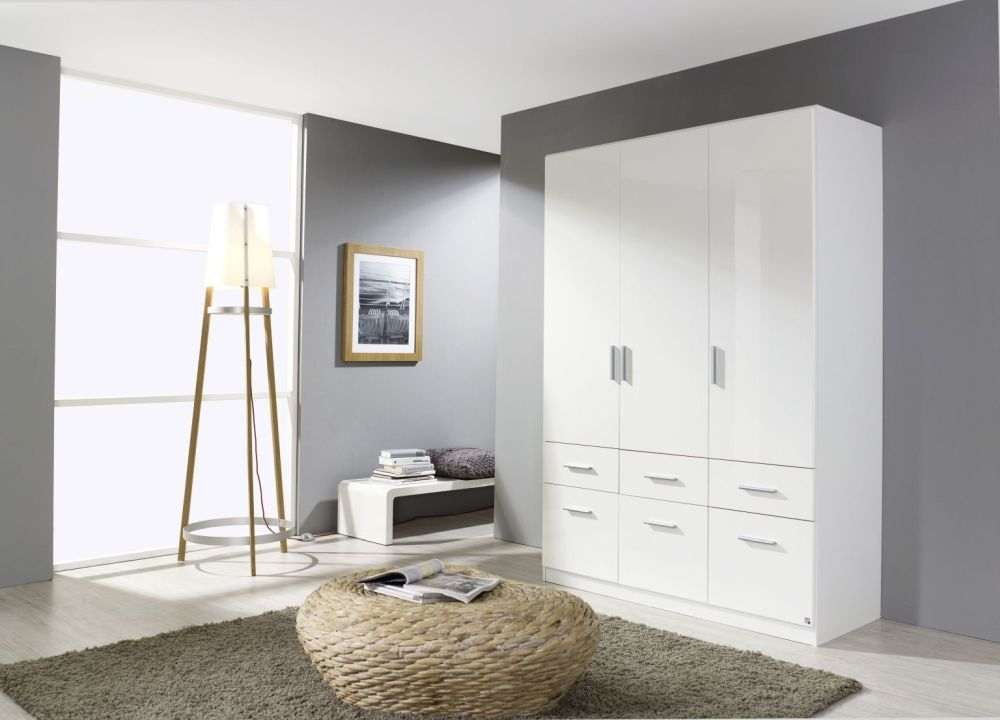 Rauch Celle 3 Door 6 Drawer Combi Wardrobe in Alpine White and High Gloss White - W 136cm