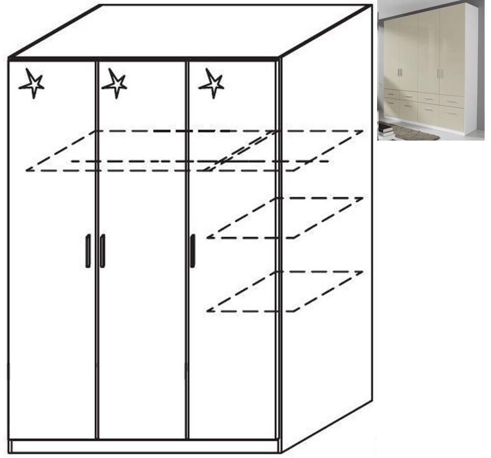 Rauch Celle 3 Door Wardrobe in Alpine White and High Gloss Sand Grey - W 136cm