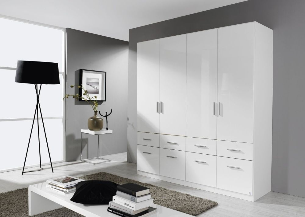 Rauch Celle 4 Door 8 Drawer Combi Wardrobe in Alpine White and High Gloss White - W 181cm