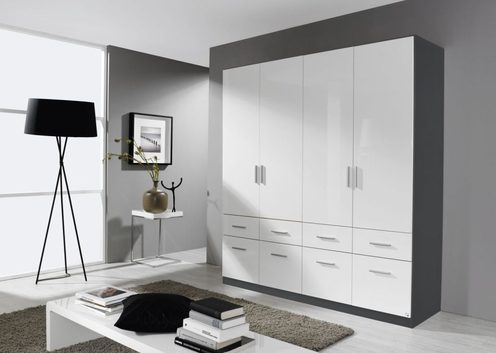 Rauch Celle 4 Door 8 Drawer Combi Wardrobe in Metallic Grey and High Gloss White - W 181cm