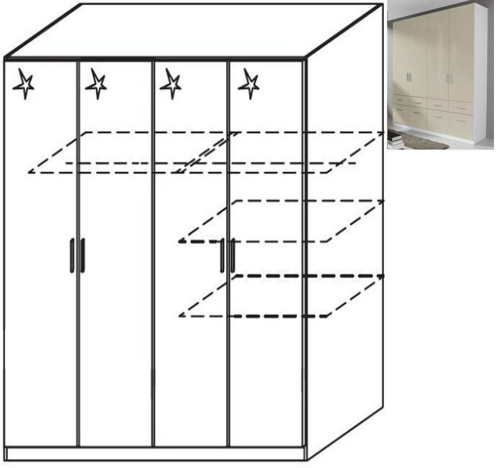 Rauch Celle 4 Door Wardrobe in Alpine White and High Gloss Sand Grey - W 181cm