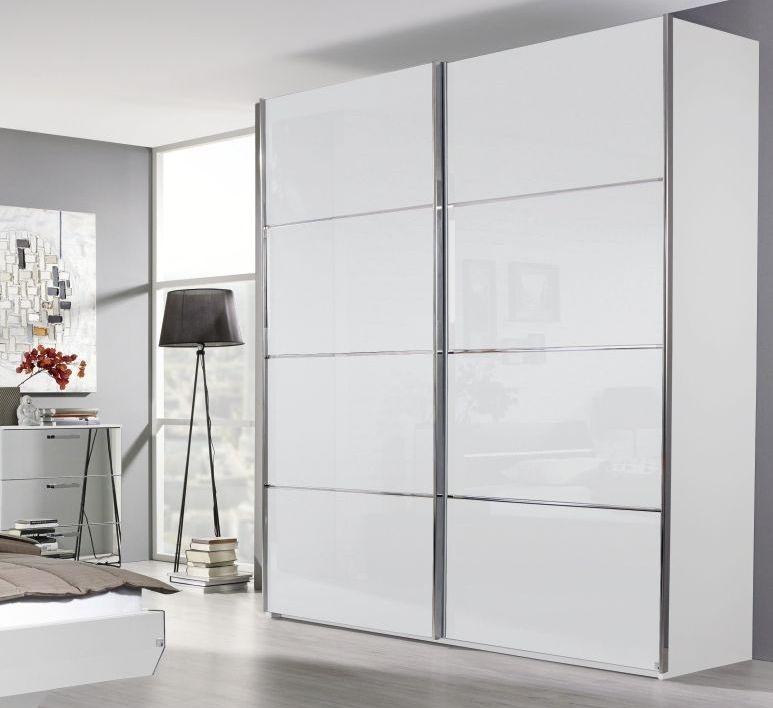 Rauch Cetina Alpine White with White Glass 2 Door Sliding Wardrobe with Trim - W 270cm