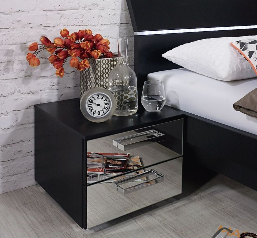 Rauch Cetina Black Chest of Drawer with Mirror Front - 3 Drawer Narrow