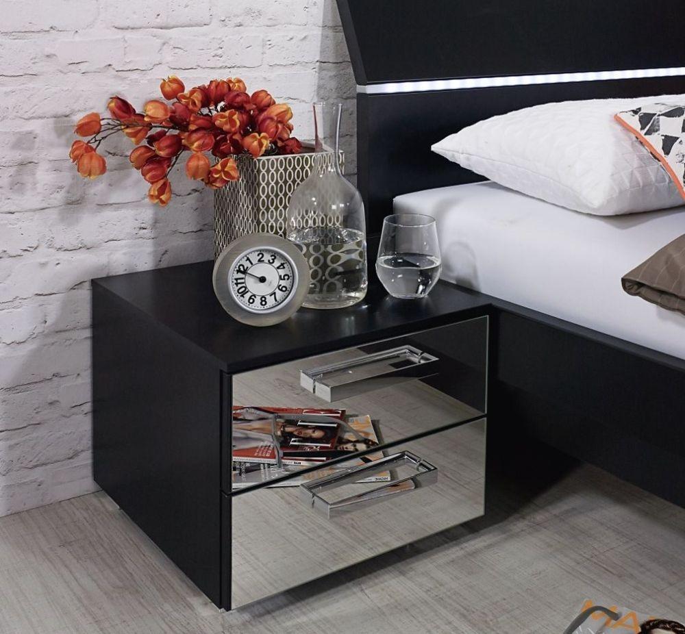 Rauch Cetina 4 Mirror Drawer Chest in Black - W 40cm