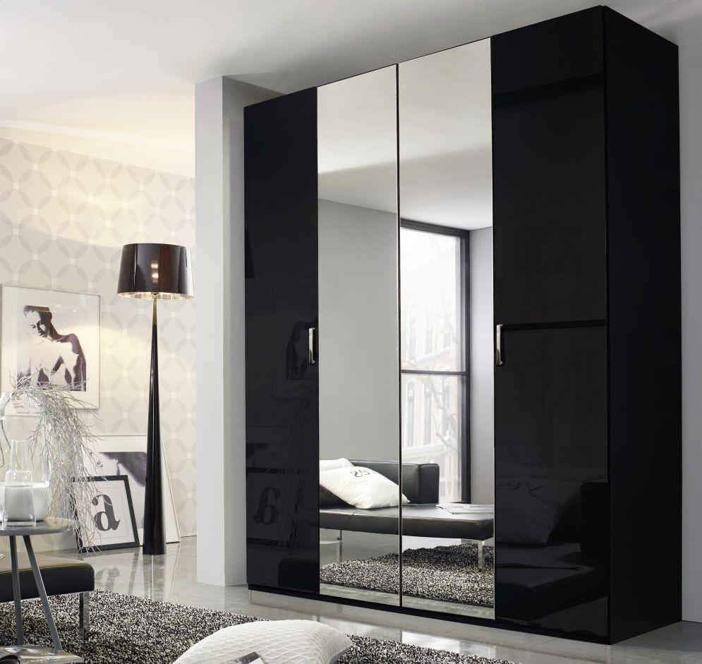 Rauch Cetina Black Glass 3 Door Wardrobe with Center Mirror - W 136cm