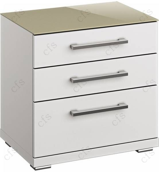 Rauch Chest 3 Drawer Glass Top Fango Bedside Cabinet in Alpine White - W 50cm