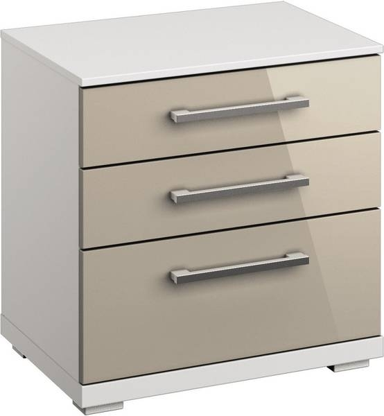 Rauch Chest Alpine White with High Gloss Cappuccino 2 Drawer Bedside Cabinet - W 50cm