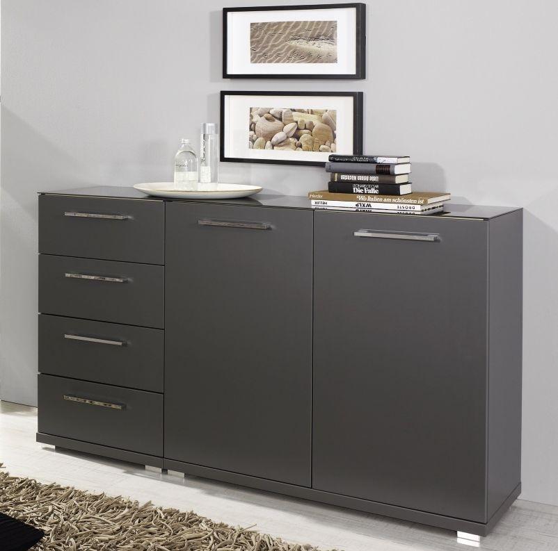 Rauch Chest Graphite 1 Door 4 Drawer Cupboard