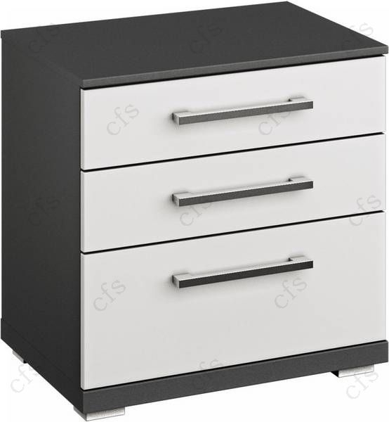 Rauch Chest Graphite with Alpine White 4 Drawer Bedside Cabinet - W 60cm