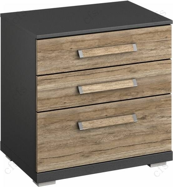 Rauch Chest Graphite with Sanremo Oak 4 Drawer Bedside Cabinet - W 50cm