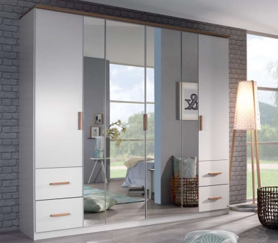 Rauch Chicago 6 Door Combi Wardrobe in White - W 226cm