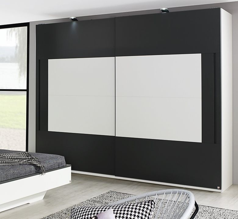 Rauch Colette Alpine White with Graphite 2 Door Sliding Wardrobe - W 181cm