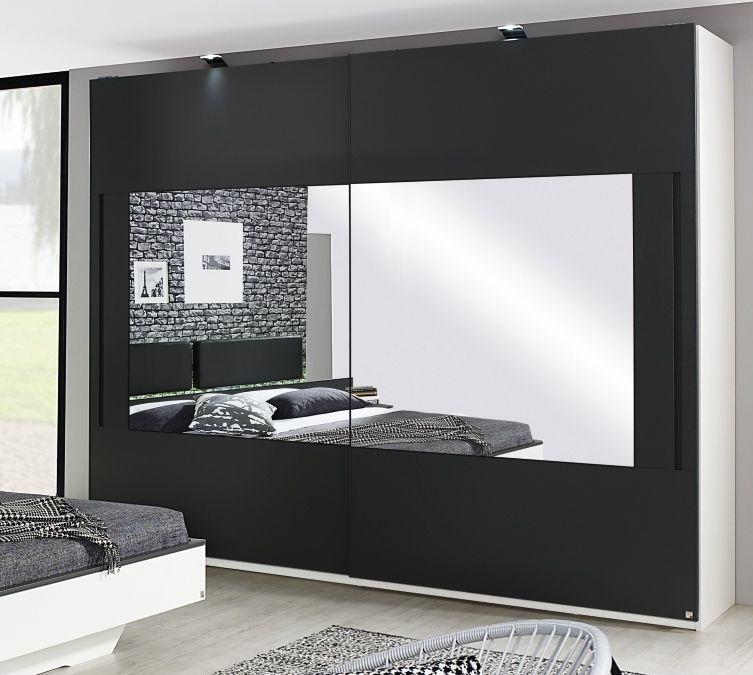 Rauch Colette 2 Mirror Door Sliding Wardrobe in Alpine White and Graphite - W 181cm