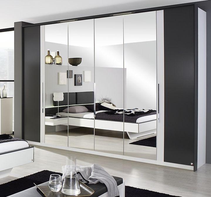 Rauch Colette 4 Door 2 Mirror Wardrobe in Alpine White and Graphite - W 201cm