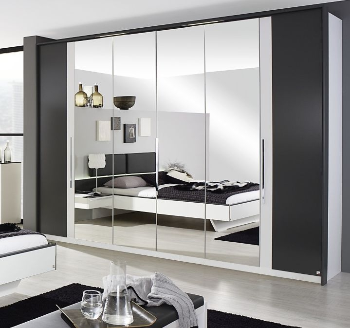 Rauch Colette 6 Door 4 Drawer 4 Mirror Combi Folding Wardrobe in Alpine White and Graphite - W 300cm
