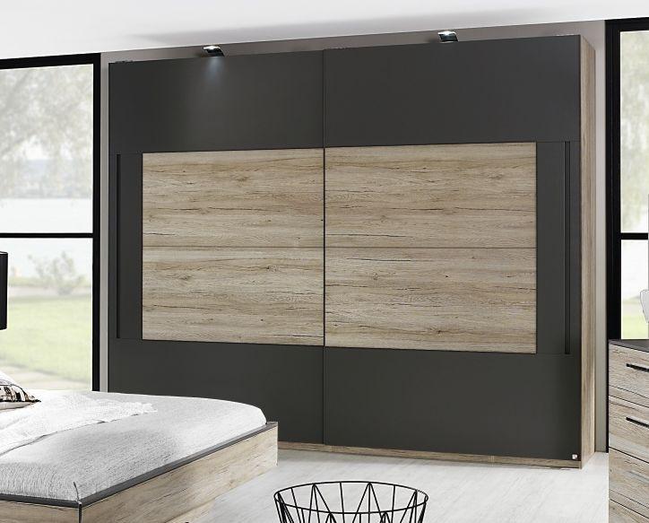 Rauch Colette 2 Door Sliding Wardrobe in Oak and Graphite - W 270cm