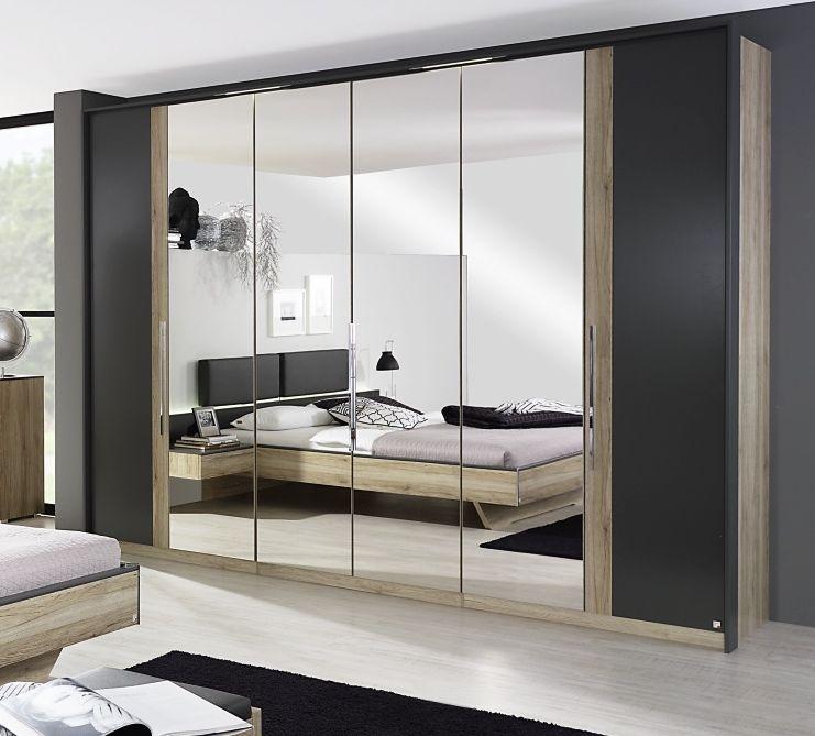 Rauch Colette 6 Door 4 Mirror Wardrobe in Oak and Graphite - W 300cm