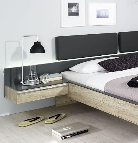 Rauch Colette Sanremo Oak Light with Graphite Bedside Cabinet - 2 Drawer