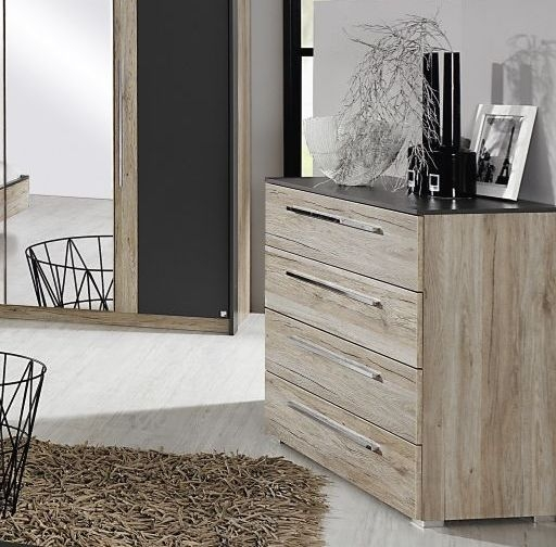 Rauch Colette 4 Drawer Chest in Oak and Graphite - W 48cm