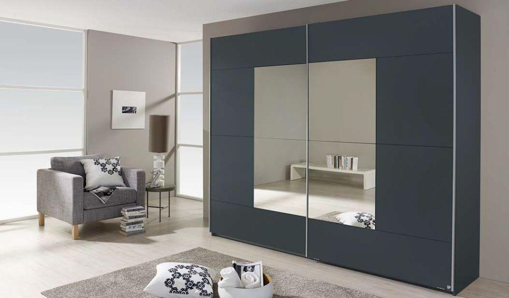 Rauch Crato Metallic Grey 2 Door Sliding Wardrobe - W 175cm